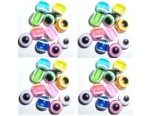 100 Perles Oeil Acrylique Multicolor 6mm