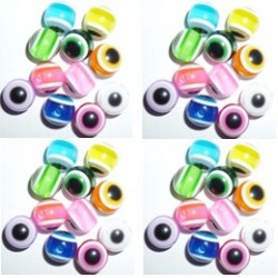 50 Perles Oeil Acrylique Multicolor 14mm