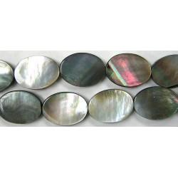 Ovale plat Nacre grise 'BLACK LIP' 13x8
