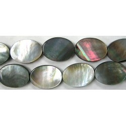 Ovale plat Nacre grise 'BLACK LIP' 16x12