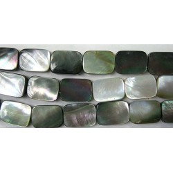 Rectangle plat Nacre grise 'BLACK LIP' 14x10