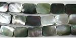 Rectangle plat Nacre grise 'BLACK LIP' 20x15