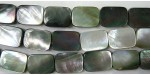 Rectangle plat Nacre grise 'BLACK LIP' 20x18