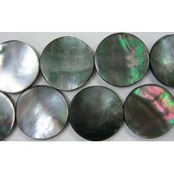 Rond plat Nacre grise 'BLACK LIP' 12mm