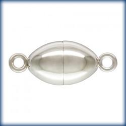 1 Fermoir Magnetique 6.0x10.0mm Oval Argent Veritable