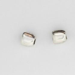 100 perles metal argenté antique 5x4mm