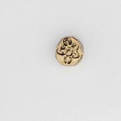 50 perles plates metal doré antique 7x6x4mm