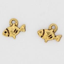 100 poissons anneaux metal doré antique 10x8.5x1.5mm