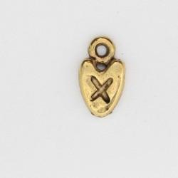 50 coeurs metal doré antique 12x7x2mm