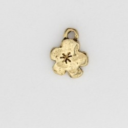50 fleurs anneaux metal doré antique 11x8x2mm