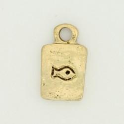 25 plaques poissons metal doré antique 17x10x2mm