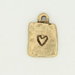 50 plaques coeurs metal doré antique 16x11.5x2mm