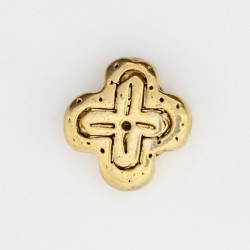25 perles plates metal doré antique 14x14x5mm
