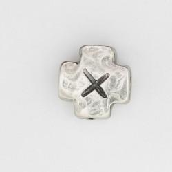 25 perles plates metal argenté antique 1.2x1.2x0.9mm