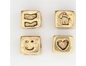 25 perles plates metal doré antique 8x7x5mm