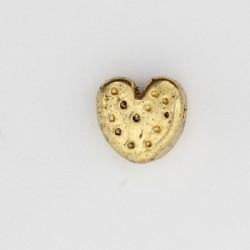 25 perles coeurs metal doré antique 9x9x4mm