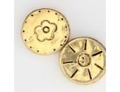 10 perles plates metal doré antique 14x4.5mm