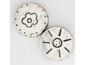 10 perles plates metal argenté antique 14x4.5mm