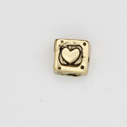 25 perles plates metal doré antique 7x7x5.5mm