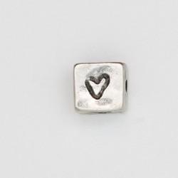 25 perles plates metal argenté antique 8x8x6mm