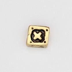 25 perles plates metal doré antique 7x7x5mm