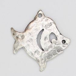 10 poissons metal argenté antique 33x32x2mm