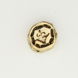 25 perles plates metal doré antique 11x4mm