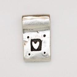 25 pendentifs metal argenté antique 17x10.5x2mm