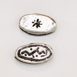 25 perles plates metal argenté antique 14x7x4.5mm