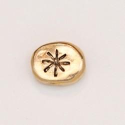 25 perles plates metal doré antique 12x10x5mm