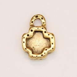 25 pendentifs metal doré antique 16x12.5x4mm