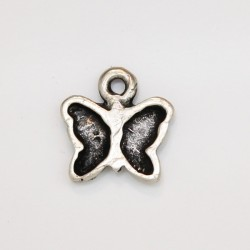 50 papillons metal argenté antique 12x11x2mm