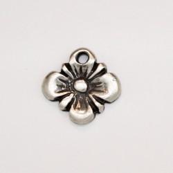 50 fleurs metal argenté antique 12.5x10.5x2mm