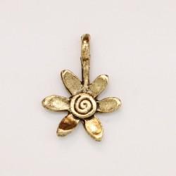 25 fleurs metal doré antique 17.5x13x2mm