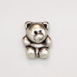 25 perles oursons metal argenté antique 13.5x10.5x4mm