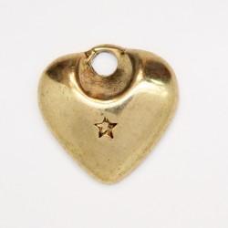 25 coeurs metal doré antique 17x17x3mm