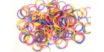 600 loom bands SILICONE tricolore bleu jaune rouge