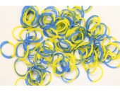 600 loom bands SILICONE bicolore bleu et jaune