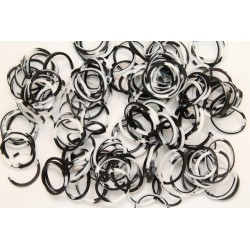 600 loom bands SILICONE bicolore noir et blanc
