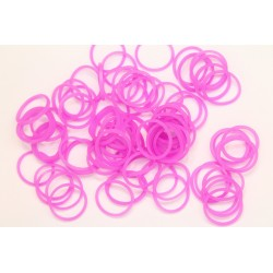 600 loom bands SILICONE rose fonce uni