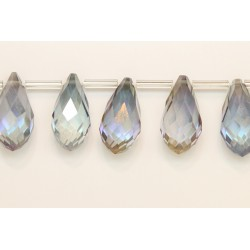 25 Briolettes black diamond A/B 10x20mm