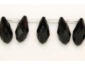 25 Briolettes noir 10x20mm