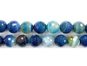 Perles Facettes Agate Bleue Striée 4mm - Fil de 40 Centimetres
