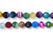Perles Facettes Agate Multi Striée 4mm - Fil de 40 Centimetres