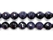 Perles Facettes Gold Stone Bleue 4mm - Fil de 40 Centimetres