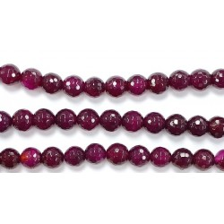 Perles Facettes Agate Rose 4mm - Fil de 40 Centimetres