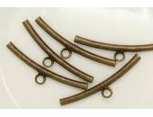 25 Tubes courbes a anneau 34mm (trou 2.1mm ) Laiton Antique