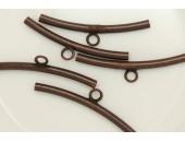 25 Tubes courbes a anneau 34mm (trou 2.1mm ) Cuivre Antique
