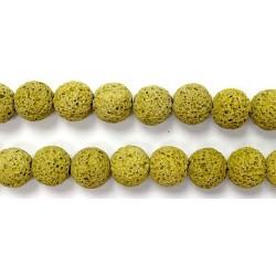 Perle Pierre de Lave Teintée Jaune 8mm