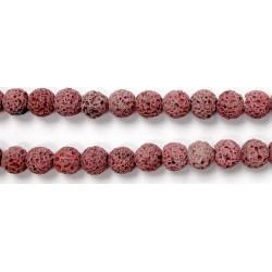Perle Pierre de Lave Teintée Rose 12mm